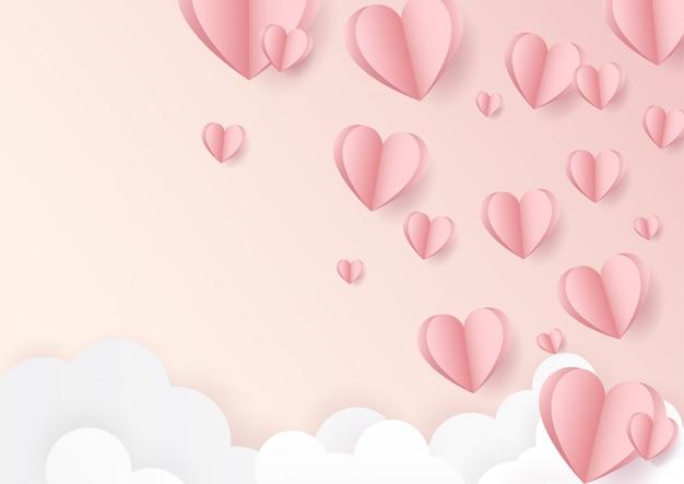 Joyeuse saint valentin. avec ballon d'amour rose créatif