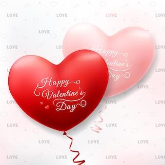 Joyeuse saint-valentin avec des ballons coeur réalistes