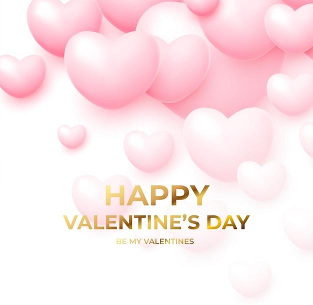 Joyeuse saint-valentin avec des ballons volants roses et blancs avec lettrage doré