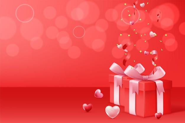 Joyeuse saint-valentin avec boîte-cadeau