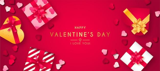 Joyeuse saint valentin avec des cadeaux réalistes