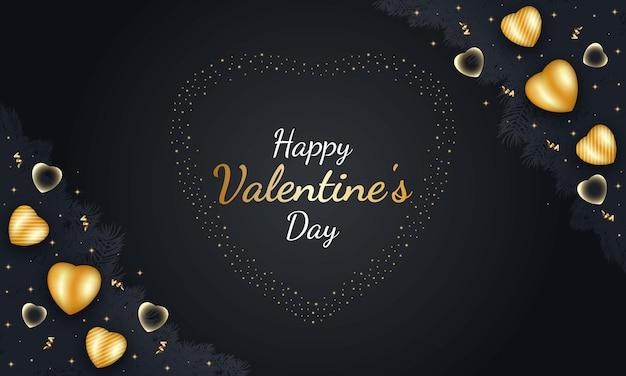 Joyeuse saint-valentin avec coeur d'or