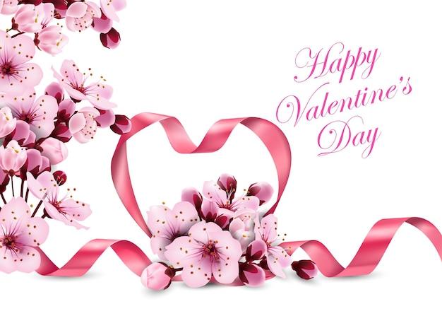 Joyeuse saint valentin coeur de ruban rose avec une délicate fleur de cerisier rose template