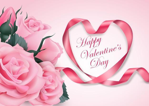 Joyeuse saint valentin coeur de ruban rose avec une délicate fleur de cerisier rose