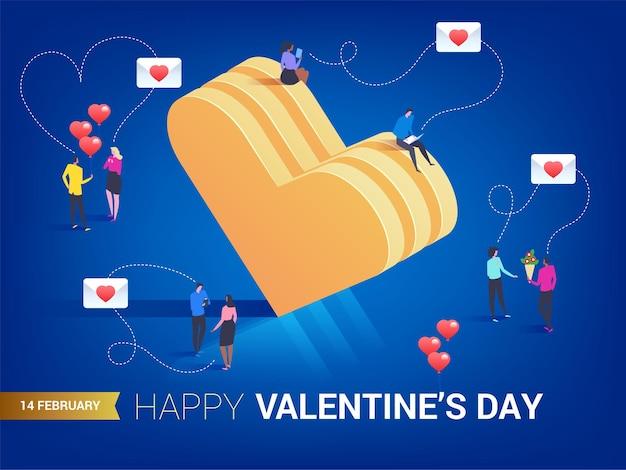 Joyeuse saint valentin. coeur en style isométrique. l'amour est dans l'air. les petites personnes se parlent.