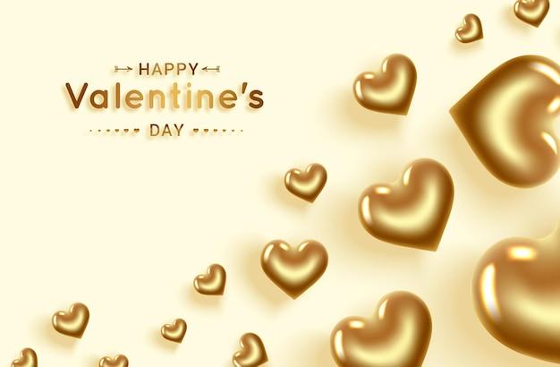 Joyeuse saint valentin. coeurs d'or