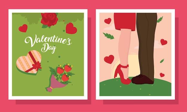 Joyeuse saint valentin couple coeur boîte et fleurs dans des cartes de passion d'amour et thème romantique