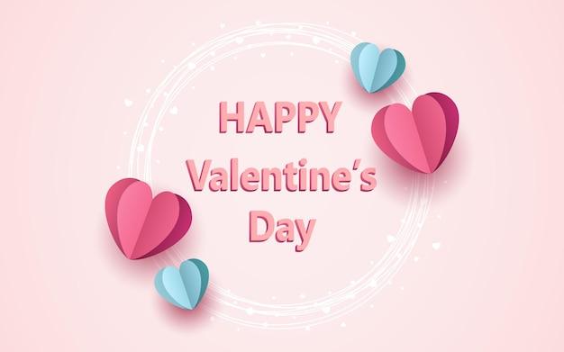 Joyeuse saint-valentin dans un cadre de cercle avec du papier en forme de coeur coupé flottant