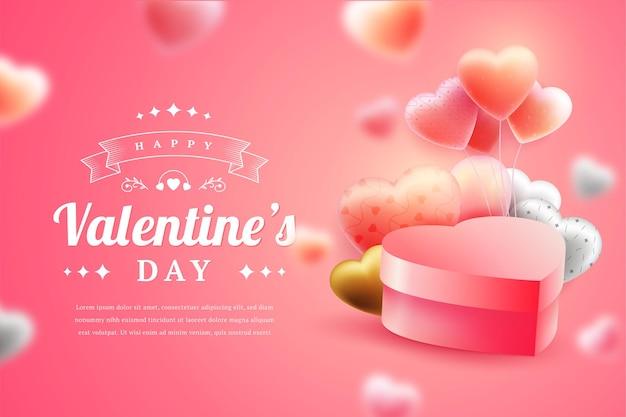 Joyeuse saint valentin dans un style 3d réaliste
