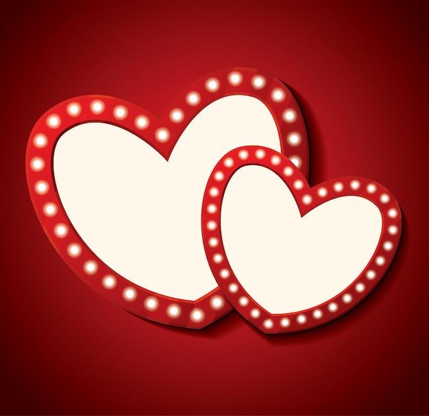 Joyeuse saint valentin. deux coeur vide. illustration vectorielle.