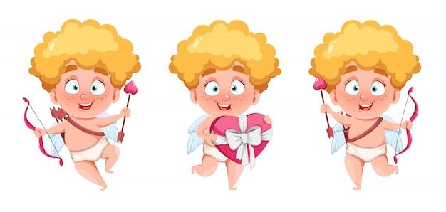 Joyeuse saint valentin. drôle enfant cupidon