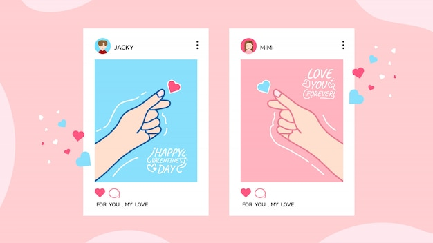 Joyeuse saint-valentin avec écran mobile de l'application mobile pour couple amoureux