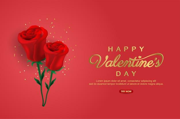 Joyeuse saint-valentin avec fleur réaliste