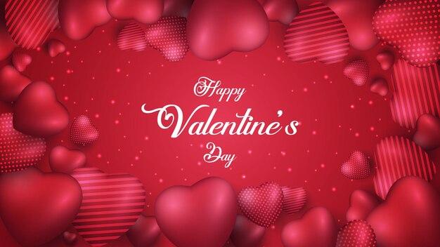 Joyeuse saint valentin avec forme de coeurs rouges réalistes