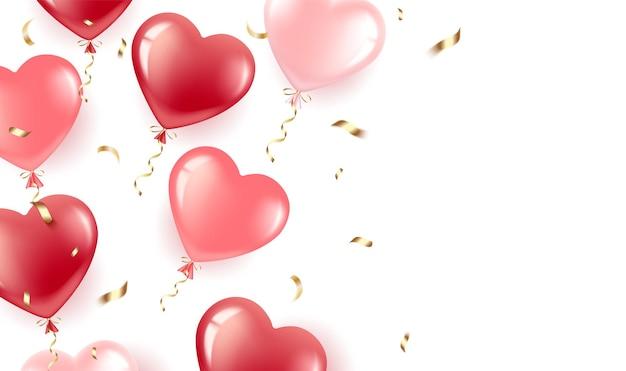 Joyeuse saint valentin. gel ballons-coeurs rouges et roses, confettis de cendre.