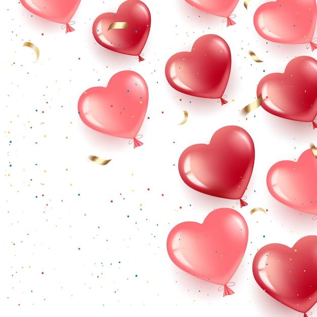 Joyeuse saint valentin. gel ballons-coeurs rouges et roses.