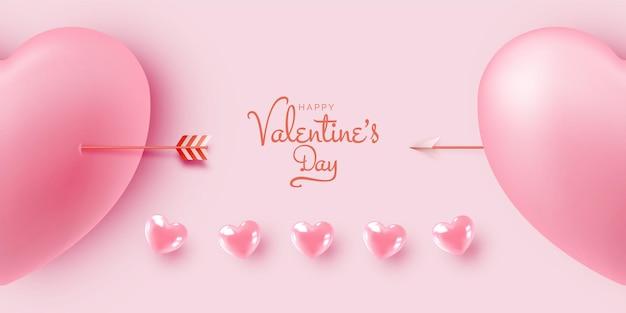Joyeuse saint-valentin avec illustration de style art 3d mignon et charmant