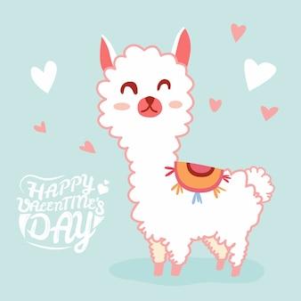 Joyeuse saint-valentin avec un lama mignon