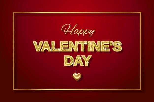 Joyeuse saint valentin. lettres en or avec des paillettes scintillantes et un cœur en or -