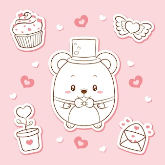 Joyeuse saint valentin mignon bébé ours en peluche éléments de dessin autocollants croquis
