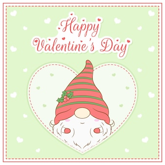 Joyeuse saint valentin mignon gnome dessin carte postale grand coeur