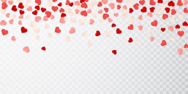 Joyeuse saint-valentin en papier confettis coeurs rouges, roses et blancs.