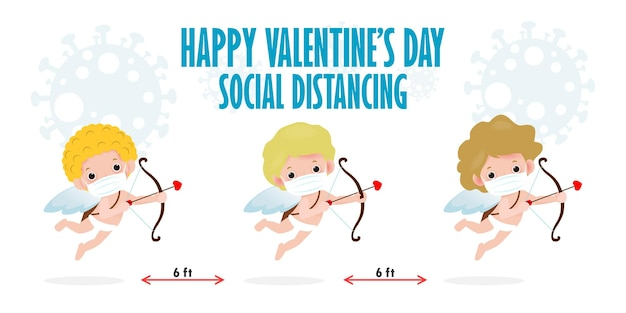 Joyeuse saint valentin pour la distanciation sociale infographique nouveau concept de mode de vie normal