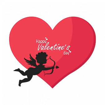 Joyeuse saint valentin, silhouette d'un cupidon et d'un grand coeur rouge