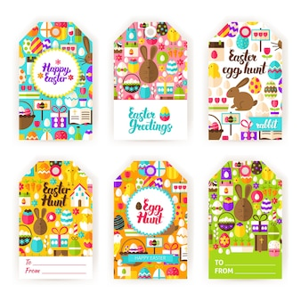Joyeuses étiquettes-cadeaux de pâques. illustration vectorielle plane des étiquettes de vacances de printemps.