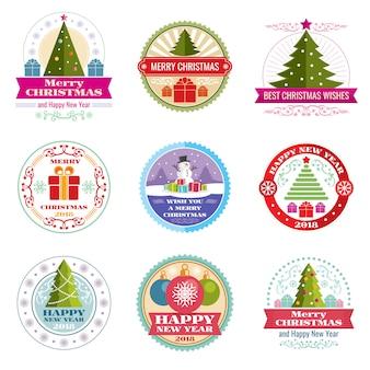 Joyeuses étiquettes de vecteur de noël. logos et emblèmes rétro des vacances d'hiver