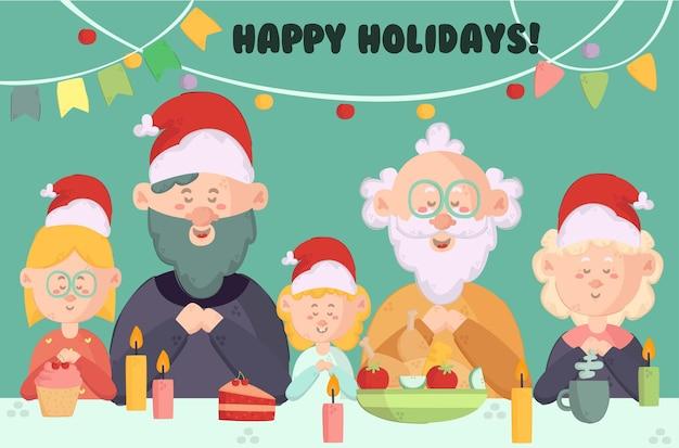 Joyeuses fêtes célébrant l'illustration