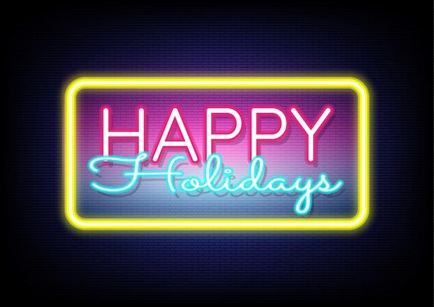 Joyeuses fêtes enseigne au néon