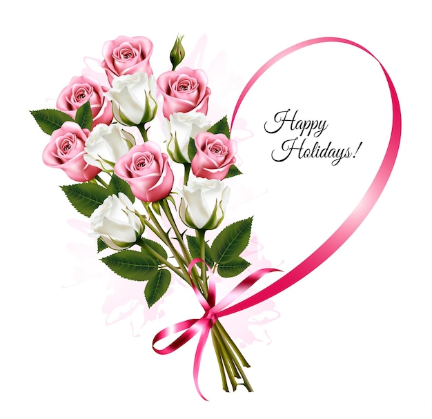 Joyeuses fêtes en forme de coeur de ruban avec bouquet de roses. vecteur.