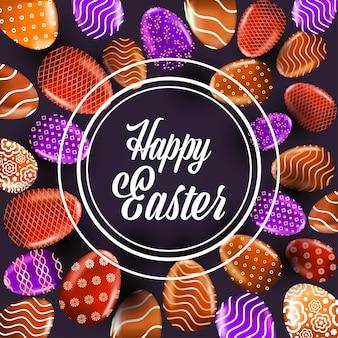 Joyeuses fêtes de pâques bannière flyer ou carte de voeux avec illustration d'oeufs décoratifs