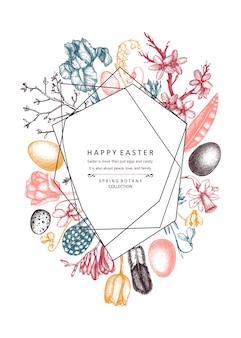 Joyeuses fêtes de pâques . éléments à la mode abstraits pour la conception de bannière de printemps, carte de voeux ou invitation. illustrations de printemps dessinés à la main. modèle de pâques vintage sur fond blanc.