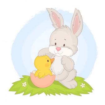Joyeuses fêtes de pâques. lapin et canard.