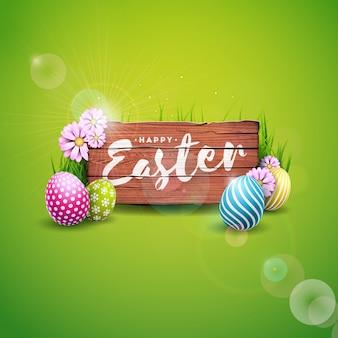 Joyeuses fêtes de pâques avec des oeufs peints et des fleurs.
