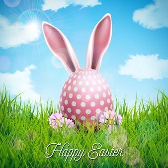 Joyeuses fêtes de pâques avec des oreilles de lapin, des oeufs peints et des fleurs
