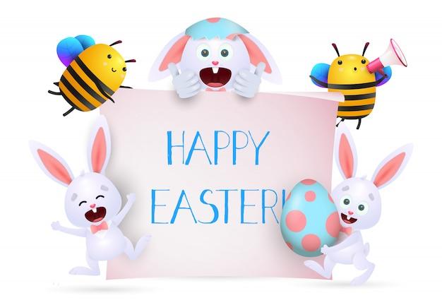 Joyeuses pâques sur une bannière tenue par des abeilles et des lapins