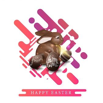 Joyeuses pâques, carte postale de salutation de modèle blanc moderne