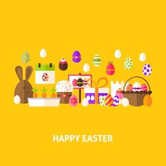 Joyeuses pâques carte de voeux. illustration vectorielle de conception plate. affiche de vacances de printemps.