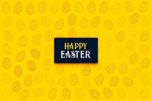 Joyeuses pâques carte de voeux jaune avec des oeufs