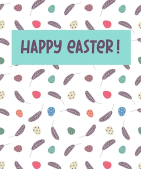 Joyeuses pâques. carte de voeux avec des œufs et des plumes. illustration vectorielle