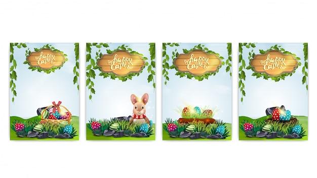 Joyeuses pâques, cartes postales de collection avec des éléments de pâques et paysage de printemps