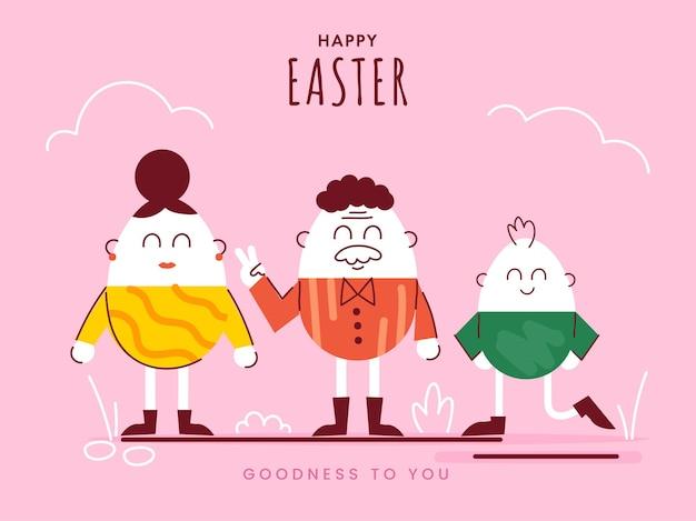 Joyeuses pâques célébration concept avec personnage de famille oeuf de dessin animé sur fond rose.