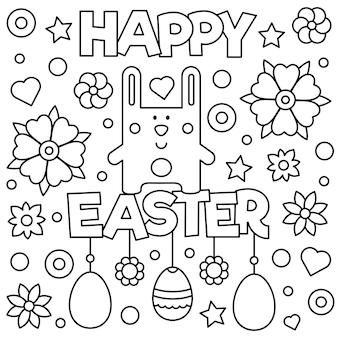 Joyeuses pâques. coloriage. illustration vectorielle