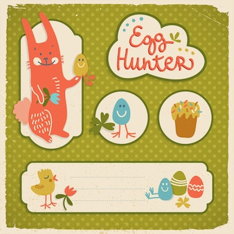 Joyeuses pâques composition avec des personnages de dessins animés dessinés à la main sur tissu avec illustration vectorielle plane pois