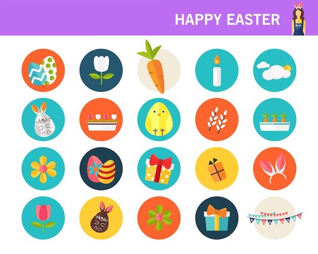 Joyeuses pâques consept icônes plates.
