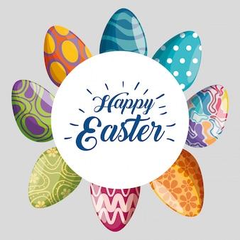 Joyeuses pâques avec décoration d'oeufs