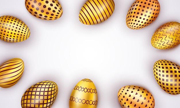 Joyeuses pâques, décoré d'oeufs de pâques doré isolés sur fond blanc
